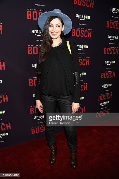 Actress Emilia Zoryan arrives at the Premiere Of Amazon's 'Bosch' Season 2 at SilverScreen Theater at the Pacific Design Center on March 3 2016 in...