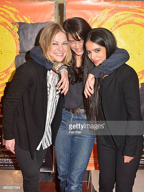 Actress Emilie Dequenne director Camille Fontaine and actress Hafsia Herzi attend 'Par Accident' Premiere At UCC Cite Cine Des Halles on October 13...