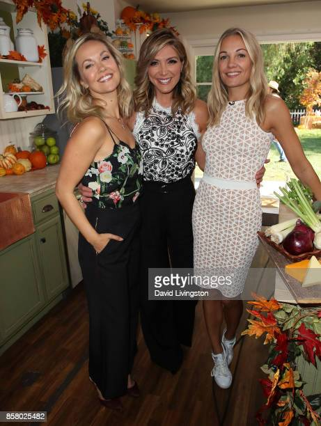 Actress Emilie Ullerup host Debbie Matenopoulos and TV personality Caroline Fleming attend Hallmark's 'Home Family' at Universal Studios Hollywood on...