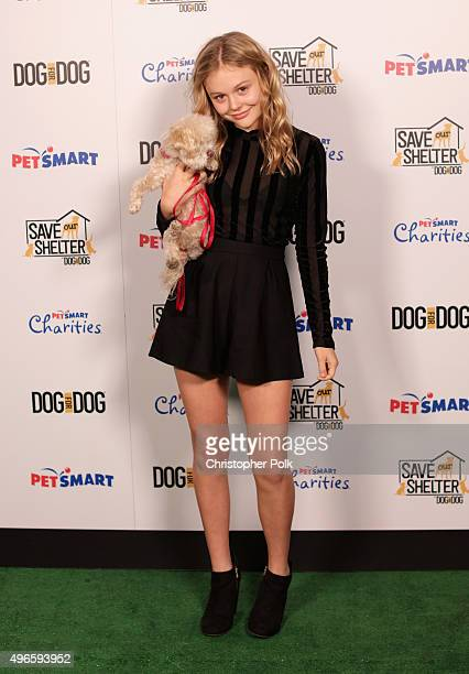 Actress Emily Alyn Lind attends the launch of DOG for DOG movement Buy One Give One to help feed animals in need at The Amanda Foundation on November...