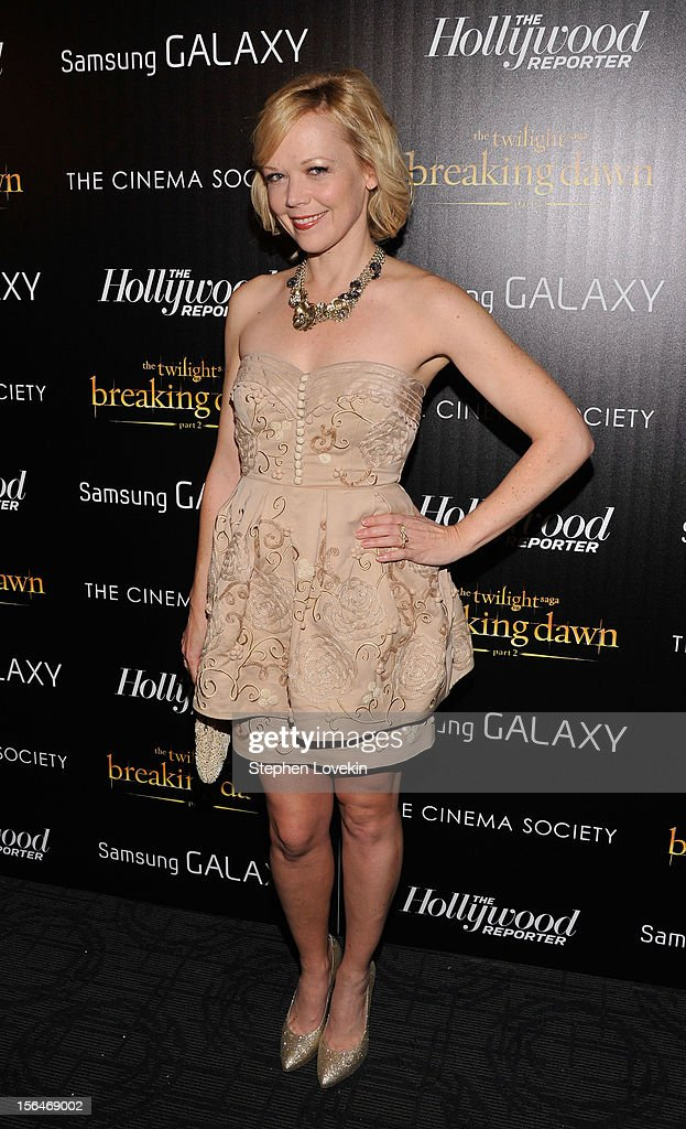 Actress Emily Bergl attends The Cinema Society with The Hollywood Reporter & Samsung Galaxy screening of 'The Twilight Saga: Breaking Dawn Part 2' on November 15, 2012 in New York City.