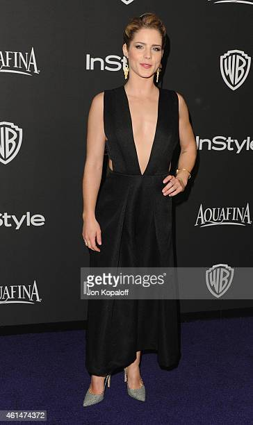Actress Emily Bett Rickards arrives at the 16th Annual Warner Bros And InStyle PostGolden Globe Party at The Beverly Hilton Hotel on January 11 2015...