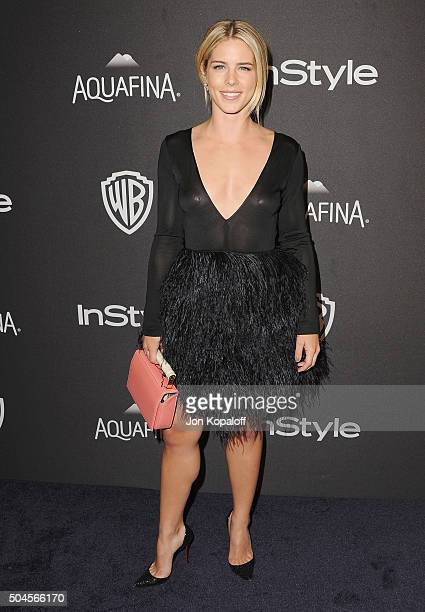 Actress Emily Bett Rickards arrives at the 2016 InStyle And Warner Bros 73rd Annual Golden Globe Awards PostParty at The Beverly Hilton Hotel on...