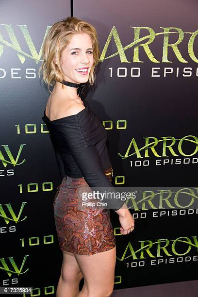Actress Emily Bett Rickards arrives on the green carpet for the Celebration of the 100th Episode of CW's 'Arrow' at the Fairmont Pacific Rim Hotel on...