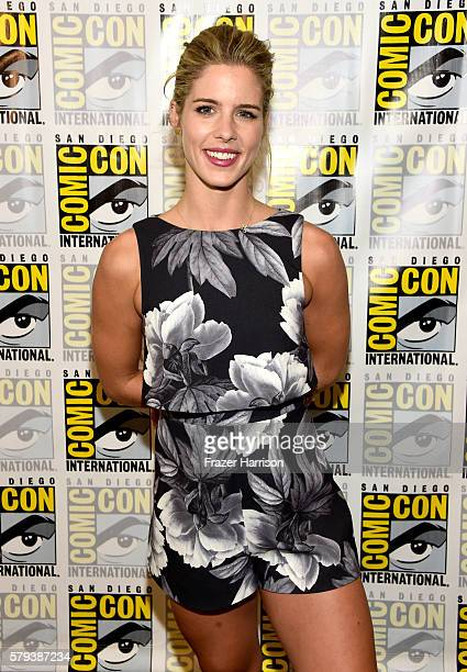 Actress Emily Bett Rickards attends 'Arrow' Press Line during ComicCon International 2016 at Hilton Bayfront on July 23 2016 in San Diego California
