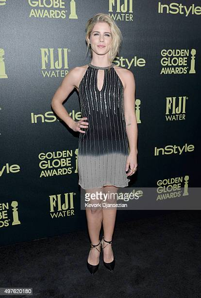 Actress Emily Bett Rickards attends Hollywood Foreign Press Association and InStyle Celebration of The 2016 Golden Globe Award Season at Ysabel on...