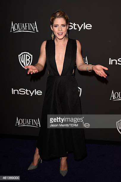Actress Emily Bett Rickards attends the 2015 InStyle And Warner Bros 72nd Annual Golden Globe Awards PostParty at The Beverly Hilton Hotel on January...