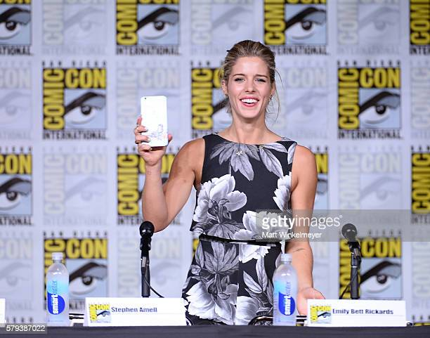 Actress Emily Bett Rickards attends the 'Arrow' Special Video Presentation and QA during ComicCon International 2016 at San Diego Convention Center...