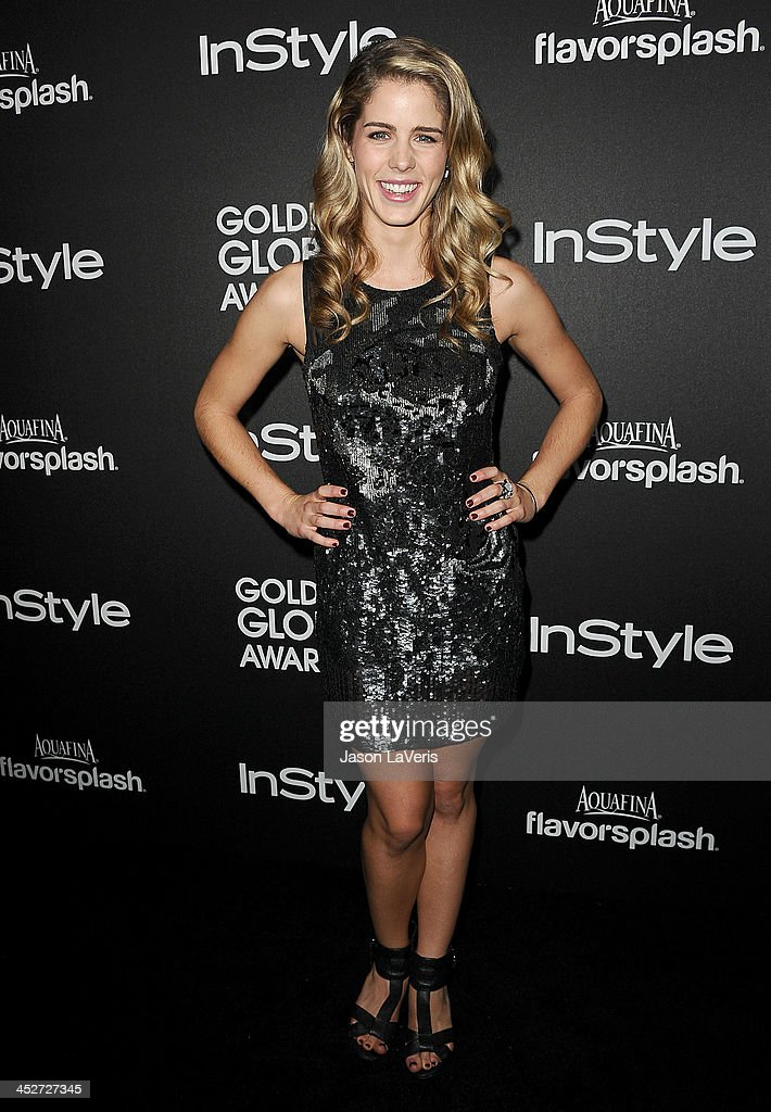 Actress <a gi-track='captionPersonalityLinkClicked' href=/galleries/search?phrase=Emily+Bett+Rickards&family=editorial&specificpeople=10931592 ng-click='$event.stopPropagation()'>Emily Bett Rickards</a> attends the Miss Golden Globe event at Fig & Olive Melrose Place on November 21, 2013 in West Hollywood, California.