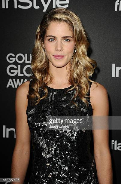 Actress Emily Bett Rickards attends the Miss Golden Globe event at Fig Olive Melrose Place on November 21 2013 in West Hollywood California