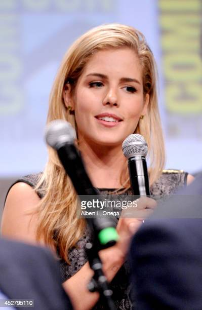 Actress Emily Bett Rickards attends Warner Bros Television DC Entertainment world premiere presentation during ComicCon International 2014 at San...