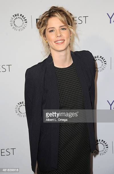 Actress Emily Bett Rickards participates in The Paley Center For Media's 32nd Annual PALEYFEST LA featuring The CW's 'Arrow' and 'The Flash' held at...