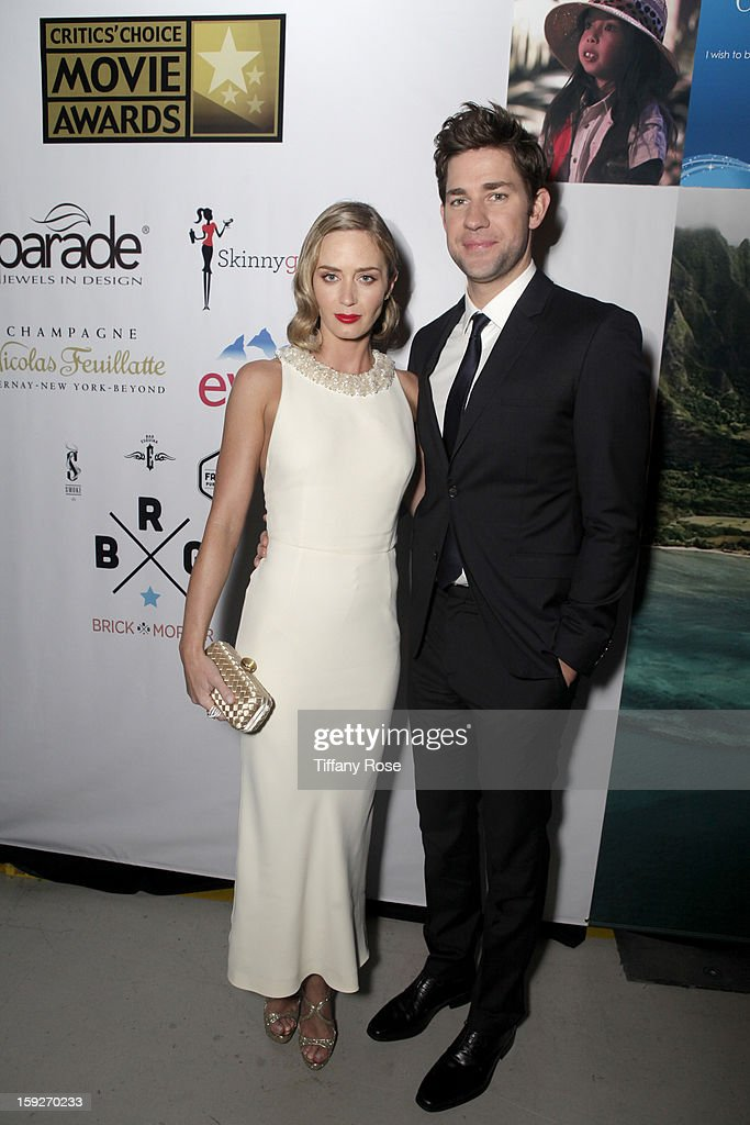 Actress <a gi-track='captionPersonalityLinkClicked' href=/galleries/search?phrase=Emily+Blunt&family=editorial&specificpeople=213480 ng-click='$event.stopPropagation()'>Emily Blunt</a> (L) and actor <a gi-track='captionPersonalityLinkClicked' href=/galleries/search?phrase=John+Krasinski&family=editorial&specificpeople=646194 ng-click='$event.stopPropagation()'>John Krasinski</a> attend the Critics' Choice Movie Awards 2013 with Evian at Barker Hangar on January 10, 2013 in Santa Monica, California.