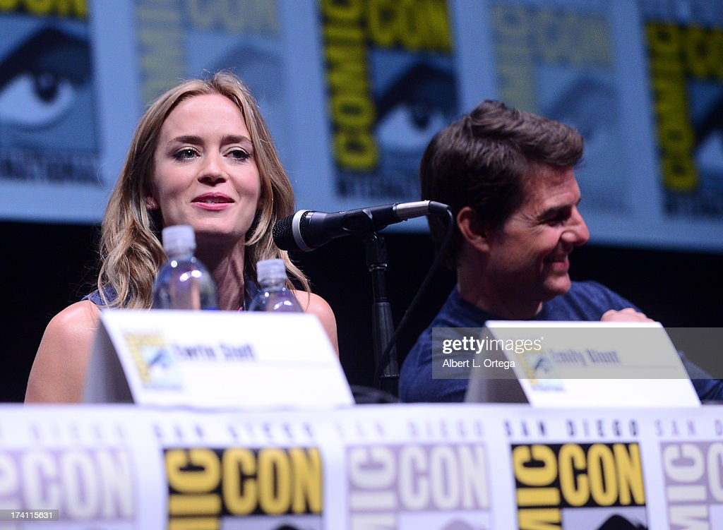 Actress Emily Blunt (L) and actor Tom Cruise speak onstage at the Warner Bros. and Legendary Pictures preview of 'Edge of Tomorrow' during Comic-Con International 2013 at San Diego Convention Center on July 20, 2013 in San Diego, California.
