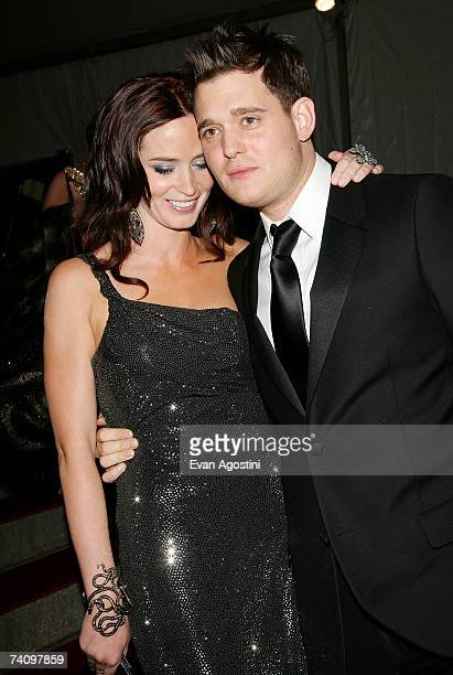 Actress Emily Blunt and boyfriend singer Michael Buble leaving The Metropolitan Museum of Art's Costume Institute Gala May 07 2007 in New York City