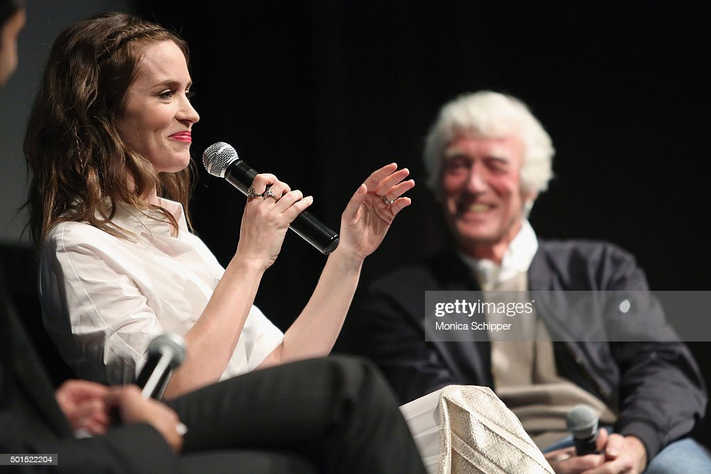 Actress Emily Blunt and cinematographer Roger Deakins speak at the panel discussion following MoMA Film's THE CONTENDERS Screening Of SICARIO at MOMA on December 15, 2015 in New York City.