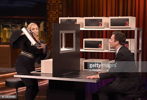 Actress Emily Blunt and host Jimmy Fallon visit 'The Tonight Show Starring Jimmy Fallon' at Rockefeller Center on October 3 2016 in New York City