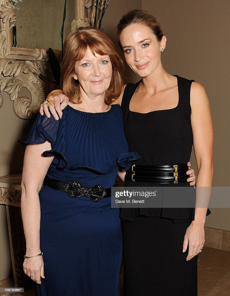 Actress Emily Blunt (R) and mother Joanna Blunt attend an after party following the London Critics Circle Film Awards at Quince Restaurant, The May Fair Hotel on January 20, 2013 in London, England.