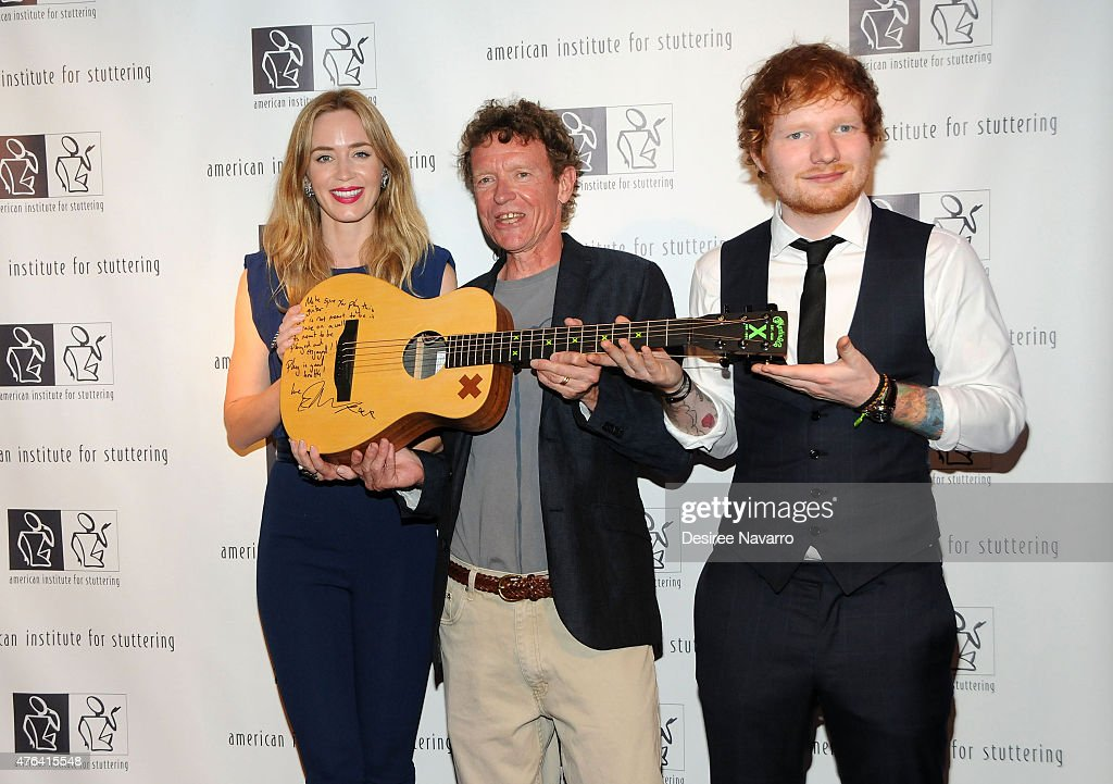 Actress Emily Blunt and singer Ed Sheeran (R) attend the 9th Annual American Institute For Stuttering Benefit Gala at The Lighthouse at Chelsea Piers on June 8, 2015 in New York City.