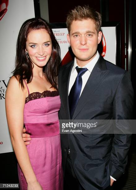 Actress Emily Blunt and singer Michael Buble attend the 20th Century Fox premiere of The Devil Wears Prada at the Loews Lincoln Center Theatre on...