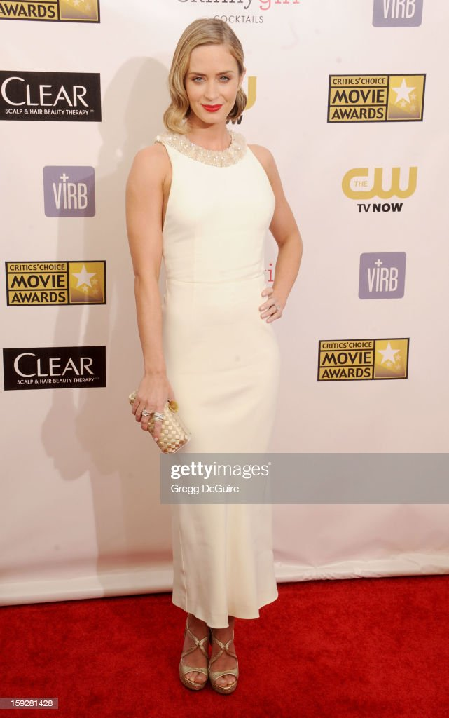 Actress <a gi-track='captionPersonalityLinkClicked' href=/galleries/search?phrase=Emily+Blunt&family=editorial&specificpeople=213480 ng-click='$event.stopPropagation()'>Emily Blunt</a> arrives at the 18th Annual Critics' Choice Movie Awards at The Barker Hangar on January 10, 2013 in Santa Monica, California.
