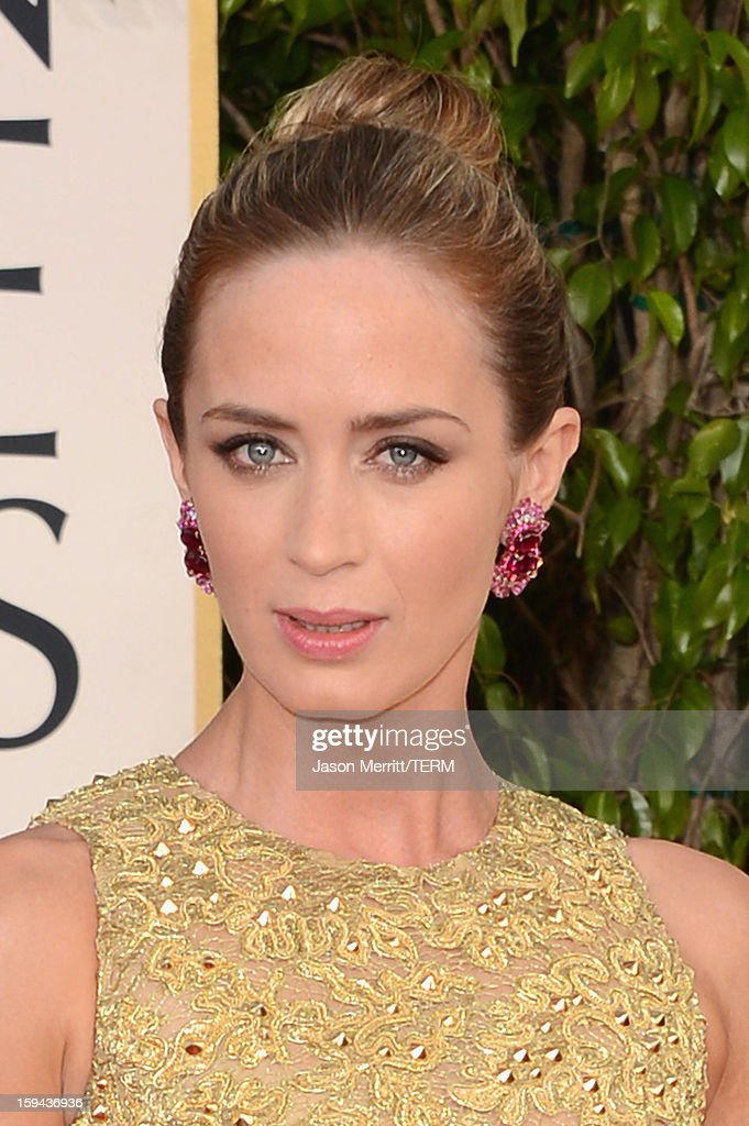 Actress Emily Blunt arrives at the 70th Annual Golden Globe Awards held at The Beverly Hilton Hotel on January 13, 2013 in Beverly Hills, California.