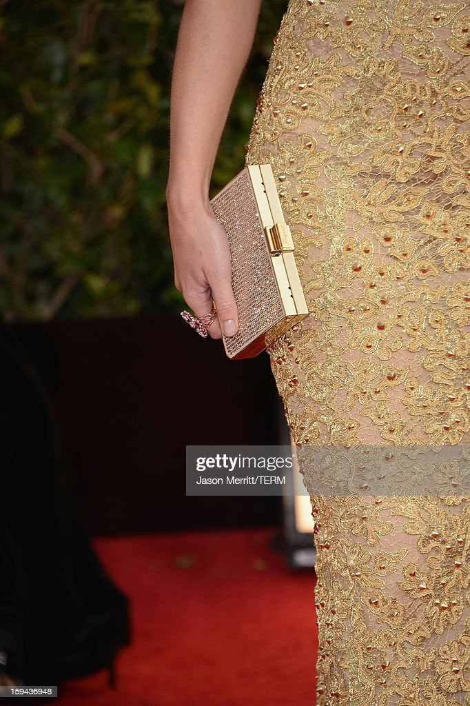 Actress Emily Blunt (handbag detail) arrives at the 70th Annual Golden Globe Awards held at The Beverly Hilton Hotel on January 13, 2013 in Beverly Hills, California.