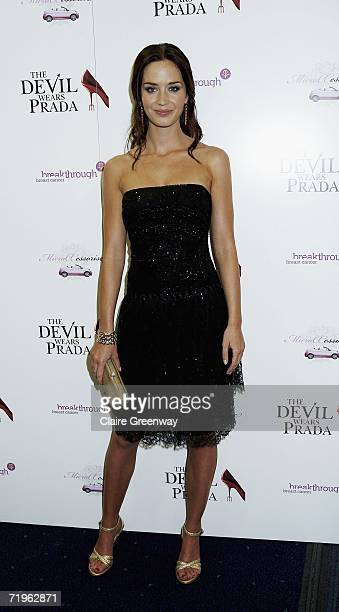 Actress Emily Blunt arrives at the charity gala screening of 'The Devil Wears Prada' at Odeon West End on September 21 2006 in London England