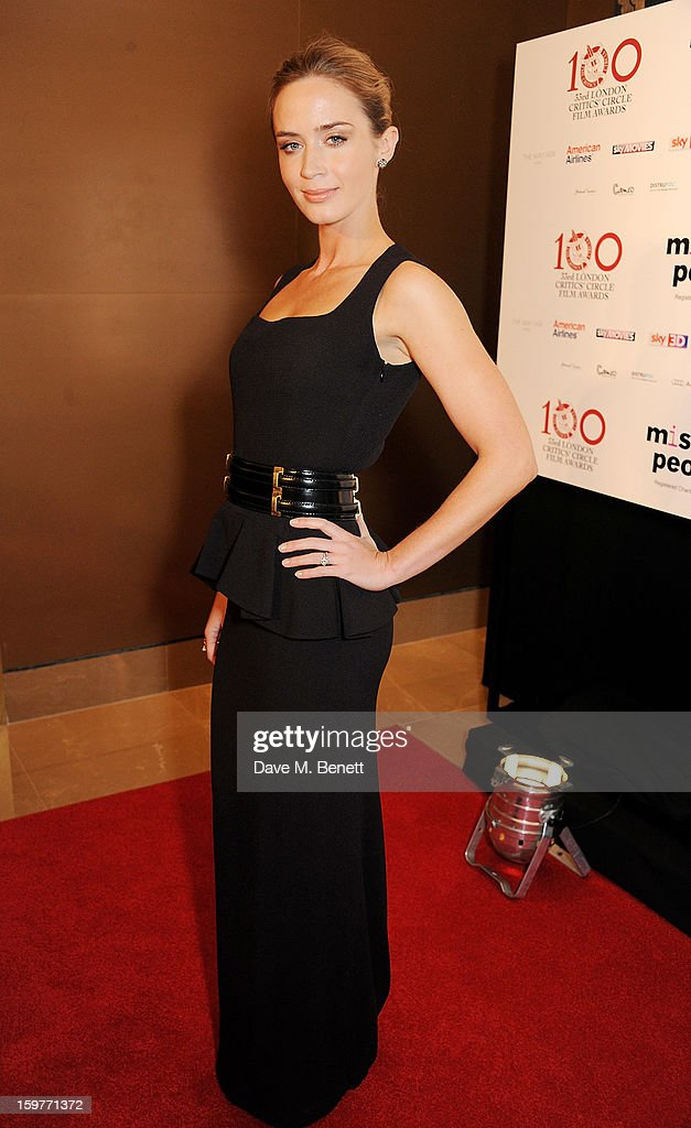 Actress <a gi-track='captionPersonalityLinkClicked' href=/galleries/search?phrase=Emily+Blunt&family=editorial&specificpeople=213480 ng-click='$event.stopPropagation()'>Emily Blunt</a> arrives at the London Critics Circle Film Awards at the May Fair Hotel on January 20, 2013 in London, England.
