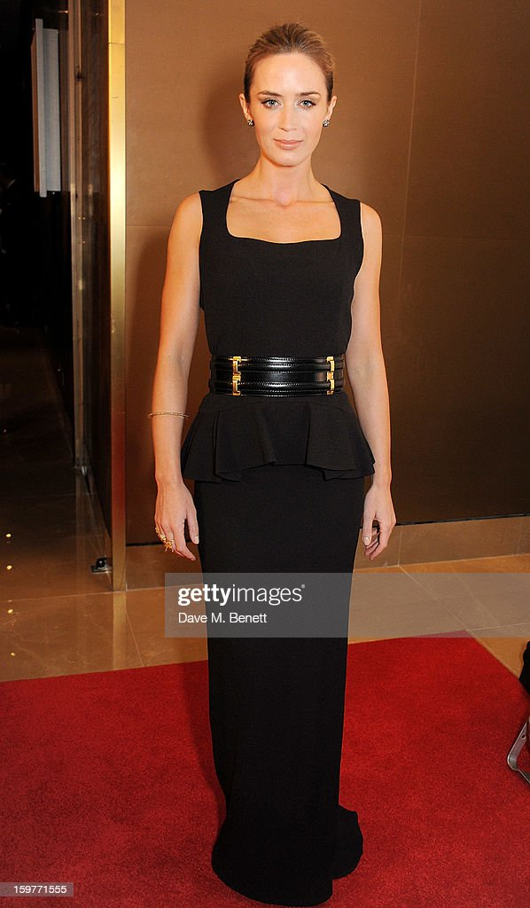 Actress Emily Blunt arrives at the London Critics Circle Film Awards at the May Fair Hotel on January 20, 2013 in London, England.