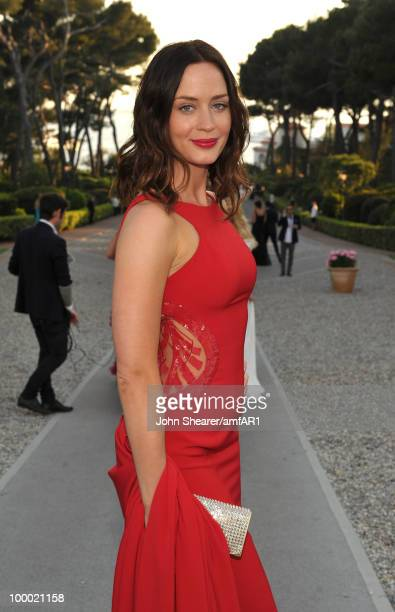 Actress Emily Blunt attends amfAR's Cinema Against AIDS 2010 benefit gala cocktail reception at the Hotel du Cap on May 20 2010 in Antibes France