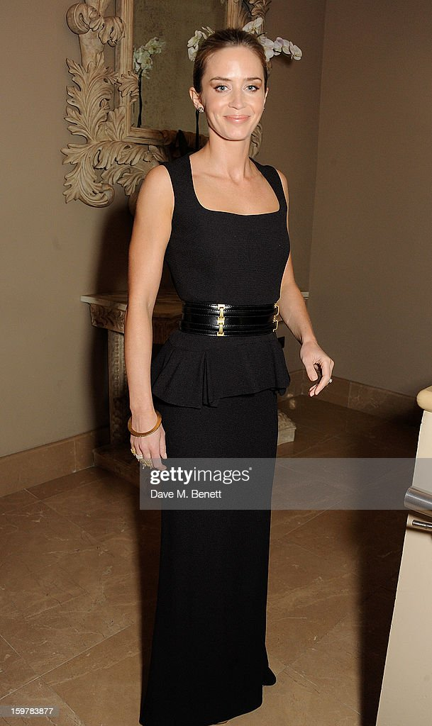 Actress Emily Blunt attends an after party following the London Critics Circle Film Awards at Quince Restaurant, The May Fair Hotel on January 20, 2013 in London, England.