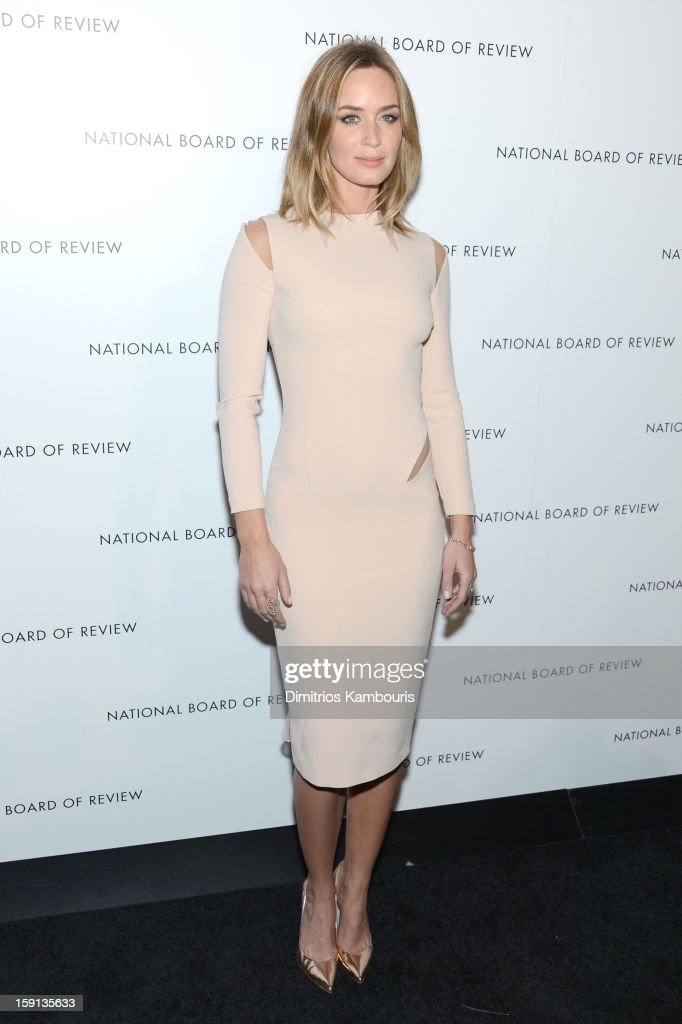 Actress <a gi-track='captionPersonalityLinkClicked' href=/galleries/search?phrase=Emily+Blunt&family=editorial&specificpeople=213480 ng-click='$event.stopPropagation()'>Emily Blunt</a> attends the 2013 National Board Of Review Awards Gala at Cipriani 42nd Street on January 8, 2013 in New York City.