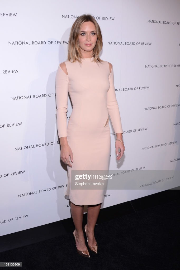 Actress <a gi-track='captionPersonalityLinkClicked' href=/galleries/search?phrase=Emily+Blunt&family=editorial&specificpeople=213480 ng-click='$event.stopPropagation()'>Emily Blunt</a> attends the 2013 National Board Of Review Awards at Cipriani 42nd Street on January 8, 2013 in New York City.