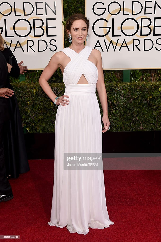 Actress <a gi-track='captionPersonalityLinkClicked' href=/galleries/search?phrase=Emily+Blunt&family=editorial&specificpeople=213480 ng-click='$event.stopPropagation()'>Emily Blunt</a> attends the 72nd Annual Golden Globe Awards at The Beverly Hilton Hotel on January 11, 2015 in Beverly Hills, California.