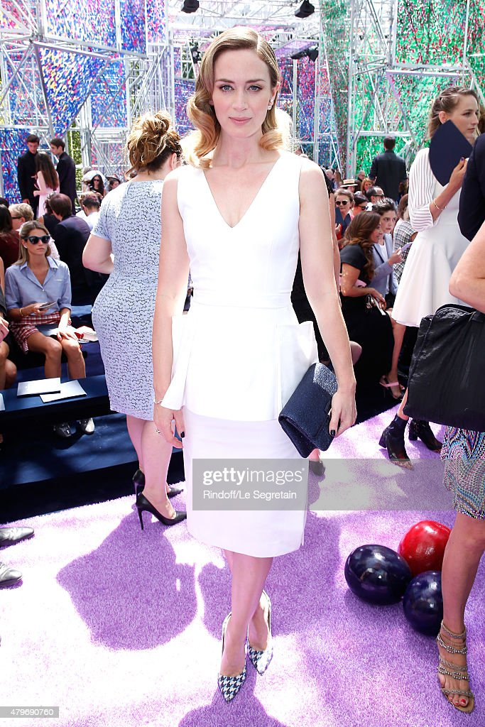 Actress Emily Blunt attends the Christian Dior show as part of Paris Fashion Week Haute Couture Fall/Winter 2015/2016 on July 6, 2015 in Paris, France.