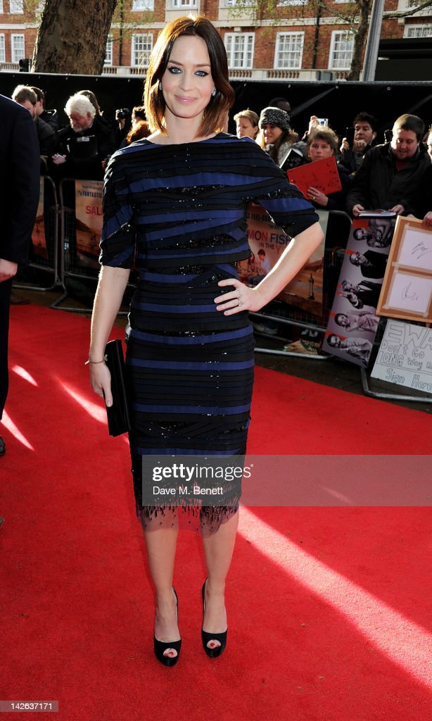 Actress Emily Blunt attends the European Premiere of 'Salmon Fishing In The Yemen' at Odeon Kensington on April 10 2012 in London England