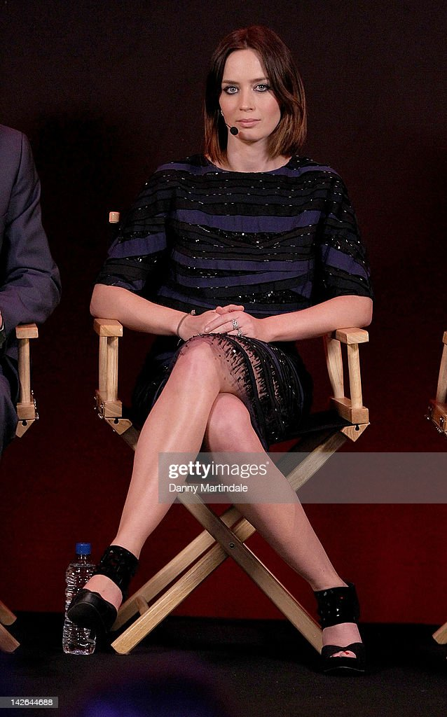 Actress Emily Blunt attends the Meet The Filmmakers as they discuss their new film Salmon Fishing in the Yemen at Apple Store Regent Street on April...