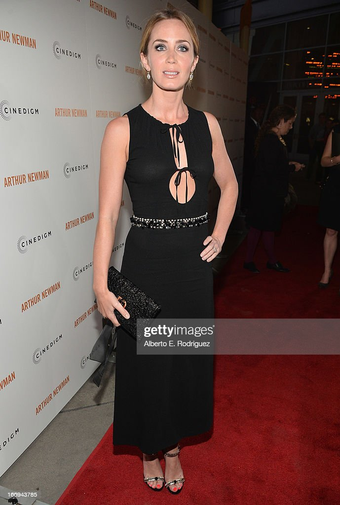 Actress <a gi-track='captionPersonalityLinkClicked' href=/galleries/search?phrase=Emily+Blunt&family=editorial&specificpeople=213480 ng-click='$event.stopPropagation()'>Emily Blunt</a> attends the premiere of Cinedigm's 'Arthur Newman' at ArcLight Hollywood on April 18, 2013 in Hollywood, California.