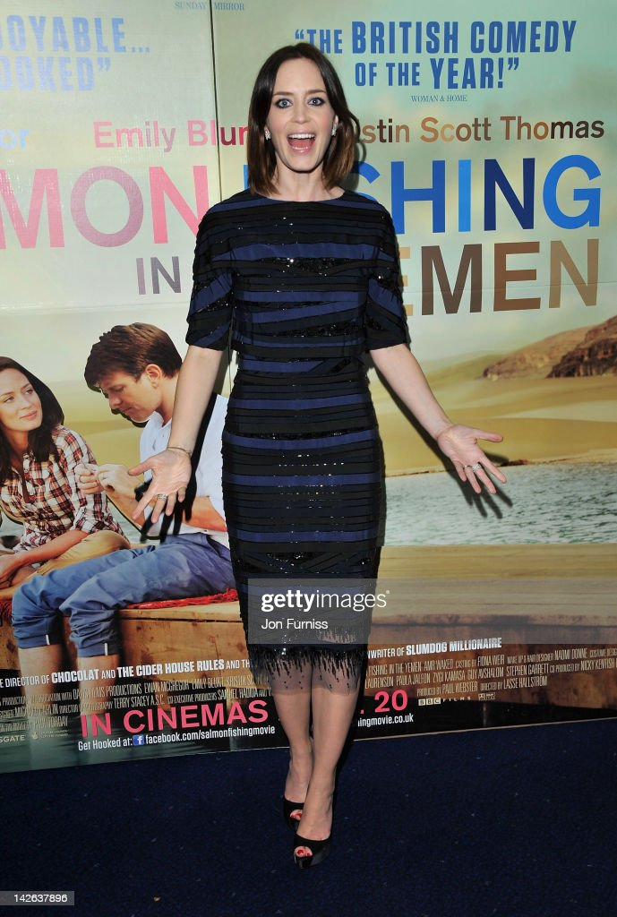 Actress Emily Blunt attends the 'Salmon Fishing in the Yemen' European Premiere at the Odeon Kensington on April 10 2012 in London England