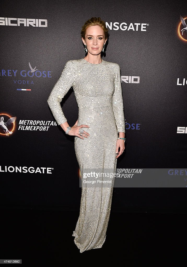 Actress <a gi-track='captionPersonalityLinkClicked' href=/galleries/search?phrase=Emily+Blunt&family=editorial&specificpeople=213480 ng-click='$event.stopPropagation()'>Emily Blunt</a> attends The Sicario Party Hosted By Grey Goose at Baoli Beach on May 19, 2015 in Cannes, France.