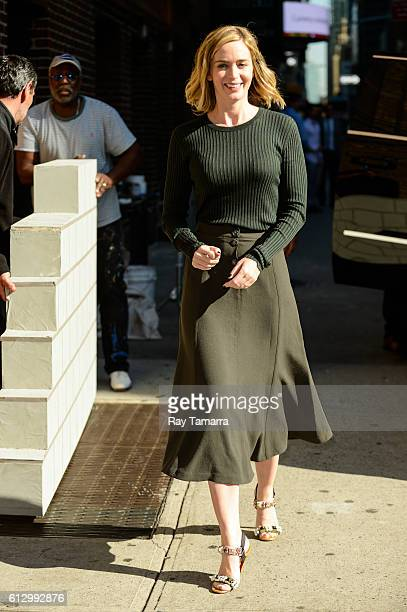 Actress Emily Blunt enters 'The Late Show With Stephen Colbert' taping at the Ed Sullivan Theater on October 06 2016 in New York City
