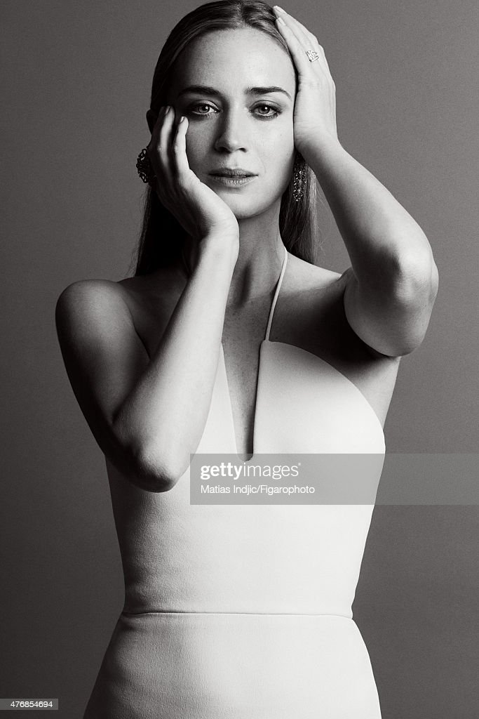 Actress <a gi-track='captionPersonalityLinkClicked' href=/galleries/search?phrase=Emily+Blunt&family=editorial&specificpeople=213480 ng-click='$event.stopPropagation()'>Emily Blunt</a> is photographed for Madame Figaro on May 18, 2015 at the Cannes Film Festival in Cannes, France. Dress (Calvin Klein Collection), jewelry (Sutra). Make-up by LOréal Paris. PUBLISHED IMAGE.