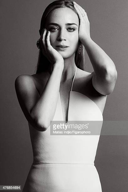 Actress Emily Blunt is photographed for Madame Figaro on May 18 2015 at the Cannes Film Festival in Cannes France Dress jewelry Makeup by LOréal...
