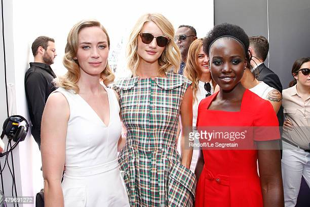Actress Emily Blunt Model Rosie HuntingtonWhiteley and Actress Lupita Nyong'o pose Backstage after the Christian Dior show as part of Paris Fashion...