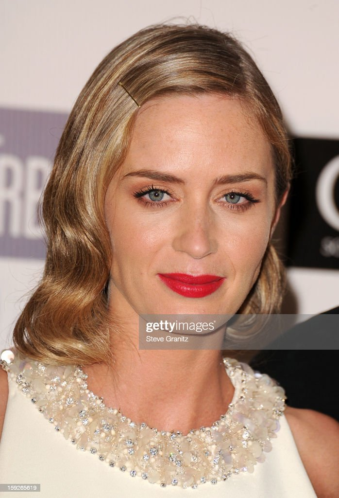 Actress <a gi-track='captionPersonalityLinkClicked' href=/galleries/search?phrase=Emily+Blunt&family=editorial&specificpeople=213480 ng-click='$event.stopPropagation()'>Emily Blunt</a> poses in the press room during the 18th Annual Critics' Choice Movie Awards at The Barker Hanger on January 10, 2013 in Santa Monica, California.