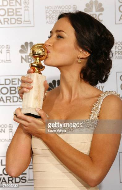 Actress Emily Blunt poses with her Best Performance by an Actress in a Supporting Role in a Series MiniSeries or Motion Picture Made for Television...