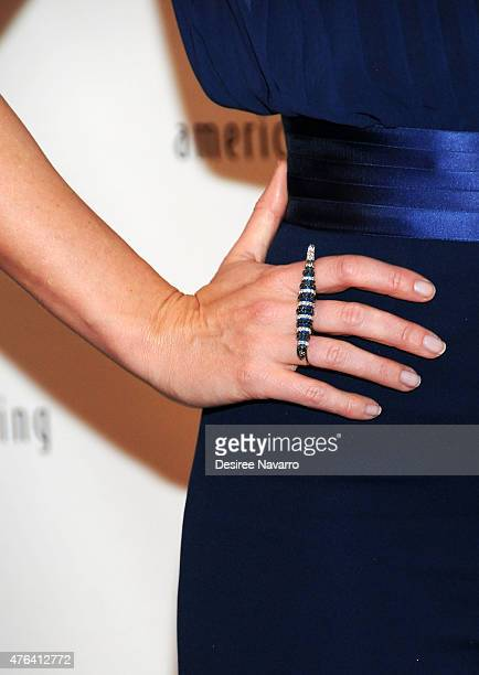 Actress Emily Blunt ring detail attends the 9th Annual American Institute For Stuttering Benefit Gala at The Lighthouse at Chelsea Piers on June 8...