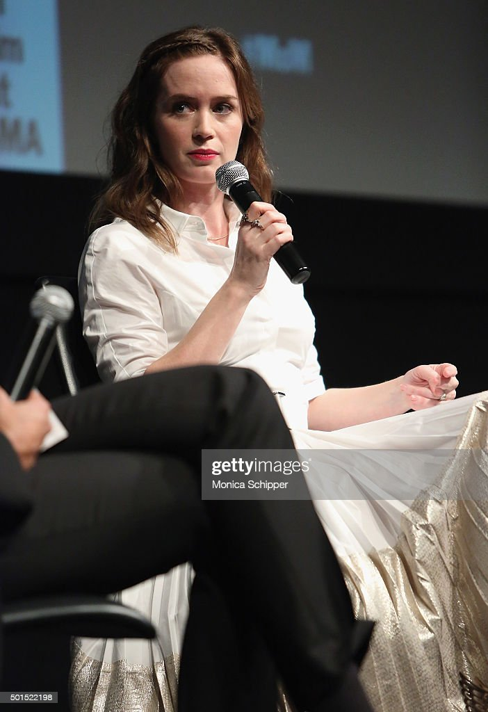 Actress Emily Blunt speaks at the panel discussion following MoMA Film's THE CONTENDERS Screening Of SICARIO at MOMA on December 15, 2015 in New York City.