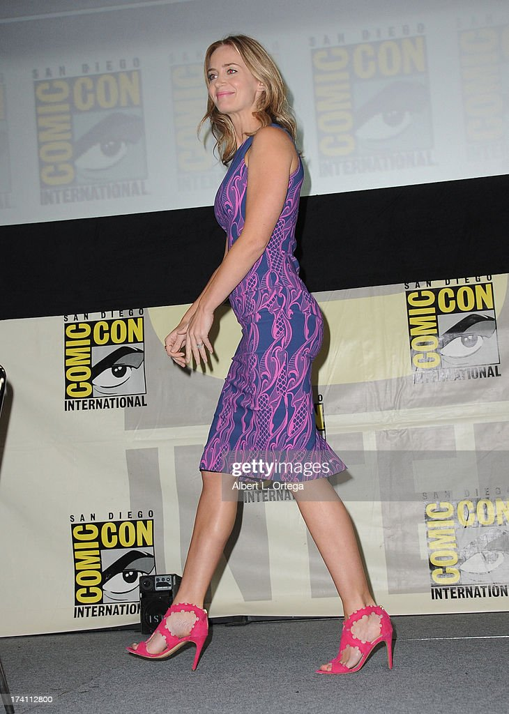 Actress Emily Blunt speaks onstage at the Warner Bros. and Legendary Pictures preview during Comic-Con International 2013 at San Diego Convention Center on July 20, 2013 in San Diego, California.